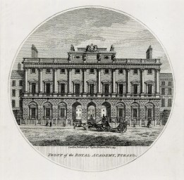 """Charles Taylor, 'Front of the Royal Academy, Strand', 1796. An original black and white copper-engraving. 6"""" x 6"""". £POA."""