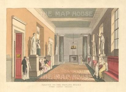 "John Papworth, 'Covent Garden Theatre', 1816. An original colour aquatint. 6"" x 8"". £POA."