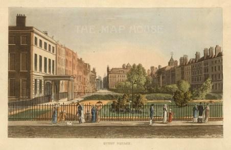 """John Papworth, 'Queen Square', 1816. An original colour aquatint. 6"""" x 8"""". £POA."""