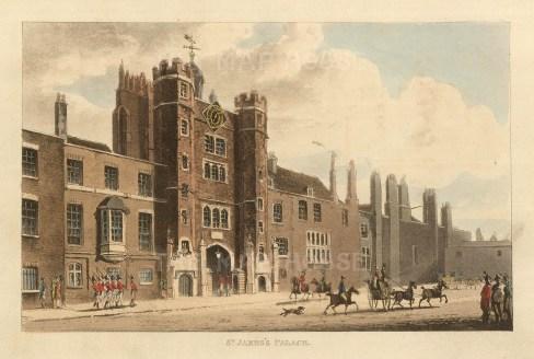 """John Papworth, 'St. James's Palace', 1816, An original colour aquatint. 6"""" x 8"""". £POA."""