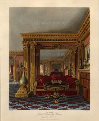 """Pyne, 'Carlton House' an interior, 1817. An original colour aquatint. 9"""" x 12"""". £POA"""