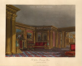 "Pyne, 'Carlton House', Golden Drawing Room, 1817. An original colour aquatint. 9"" x 12"". £POA."