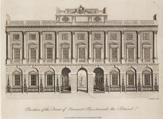"""Wilkes, 'Somerset House, Strand Elevation', 1798. An original black and white copper-engraving. 8"""" x 10"""". £POA."""
