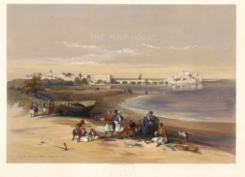 "David Roberts, 'Sidon', 1848. A hand-coloured original lithograph. 15"" x 20""."