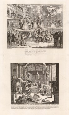 "William Hogarth, 'Beggar's Opera, A just View of the British Stage', two engravings. 1802. An original black and white copper engraving. 11"" x 19"". £POA."