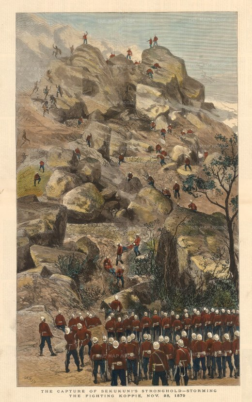 The Graphic Magazine: Anglo-Zulu War. 1880. A hand-coloured original antique wood-engraving. 14 x 22 inches. [AFRp1328]