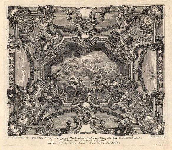 "Paulus Decker, Baroque Ceiling Decoration, 1711. An original copper engraving. 14"" x 18"". £POA."