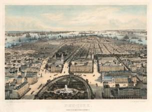"""Bachman, 'Bird's Eye View from Manhattan Island', 1859. An original colour lithograph. 21"""" x 29"""". £POA."""