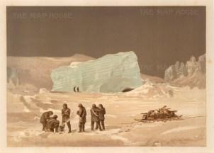 Moss: HMS Alert, Arctic c.1880. An original antique chromo-lithograph. 12 x 9 inches.[ARTp451]
