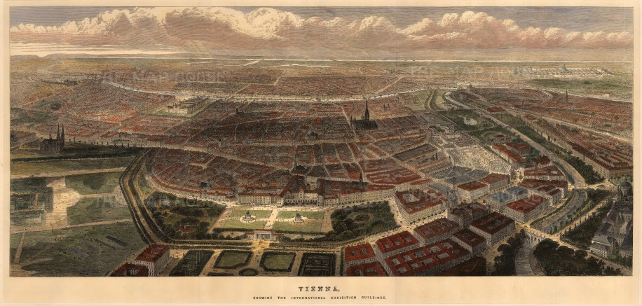 """The Illustrated London News, 'Vienna', 1873. A hand-coloured original wood-engraving. 15"""" x 30"""". £POA."""
