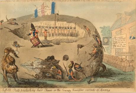 "Cruikshank, 'Suffolk Rats Protecting Their Cheese', 1795. An etching in original colour. 9"" x 13"". £POA."