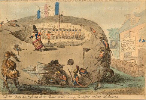 "Cruikshank, 'Suffolk Rats Protecting Their Cheese', 1795. An etching in original colour. 9"" x 13"". £POA."
