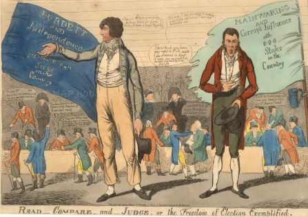 """SW Fores, 'Read Compare and Judge, or, The Freedom of Election Exemplified', 1804. An etching in original colour. 9"""" x 13"""". £POA."""