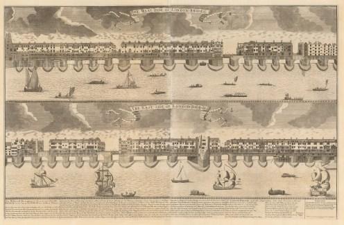 "Published by Joseph Smith, engraved by Sutton Nicholls. London Bridge, 1720. An original black and white copper engraving. 22"" x 35"". £POA"