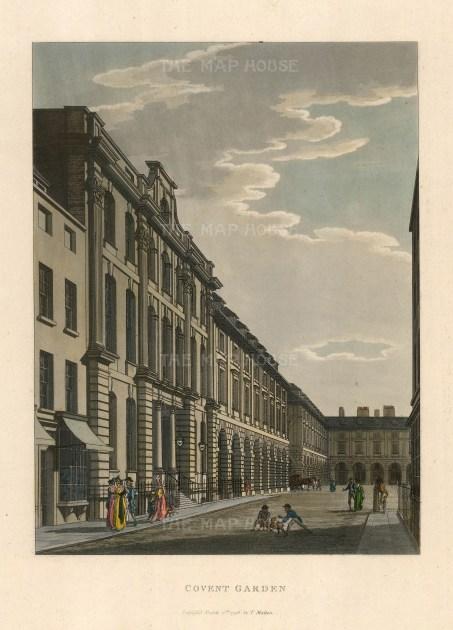 """Vue D'Optique, Covent Garden, 1792. A hand finished aquatint. 12"""" x 15""""."""