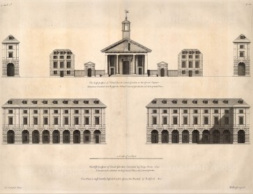 "Colen Campbell, St. Paul's Church in Covent Garden, 1720. An original black and white copper-engraving. 15"" x 19"". £POA"