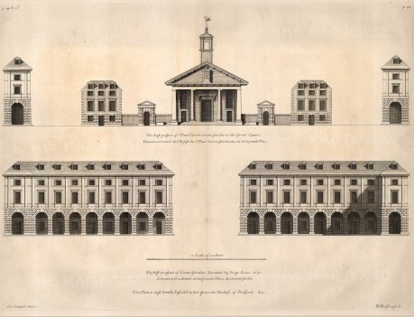 """Colen Campbell, St. Paul's Church in Covent Garden, 1720. An original black and white copper-engraving. 15"""" x 19"""". £POA"""