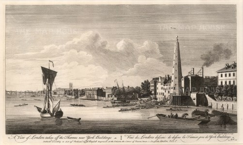 """John Boydell, A View of London from the Thames, 1752. An original black and white copper engraving. 11"""" x 17"""". £POA"""