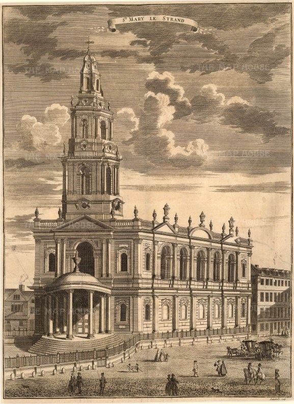 """John Stowe, St. Mary le Strand, 1754. An original black and white copper-engraving. 14"""" x 18"""". £POA"""