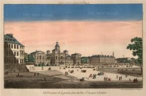 """Vue D'Optique, St. James's Park, c.1760. An original hand-coloured copper-engraving. 10"""" x 16"""". £POA"""