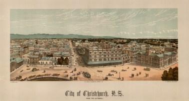 "Edward Wakefield, 'City of Christchurch', 1880. An original chromo-lithograph. 10"" x 17"". £POA."