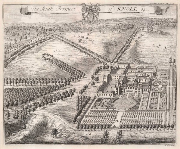 """Johannes Kip, 'The South Prospect of Knole House', 1720. An original black and white copper-engraving. 14"""" x 16"""". £POA"""
