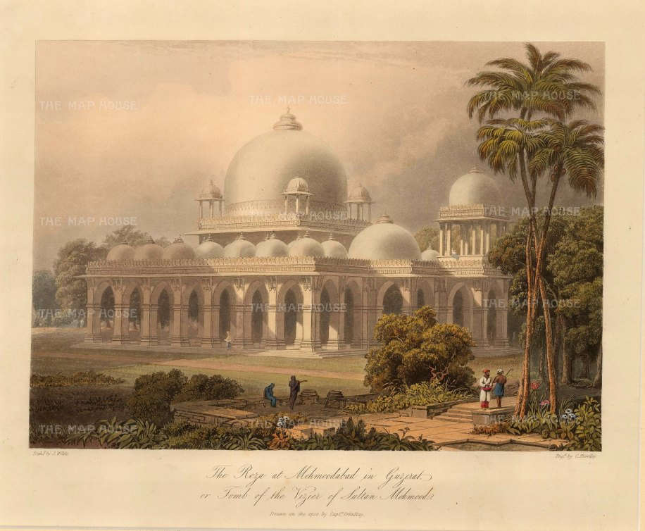"Robert Melville Grindlay, 'The Roza at Mehmoodabad in Guzerat, or, Tomb of the Vizier of Sultan Mehmood, 1830. An original colour aquatint. 9"" x 12"". £POA."