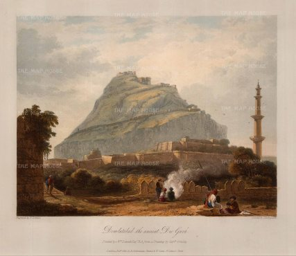 "Robert Melville Grindlay, 'Dowlutabad the Ancient Deo Gurh', 1826. An original colour aquatint. 13"" x 11"". £POA"