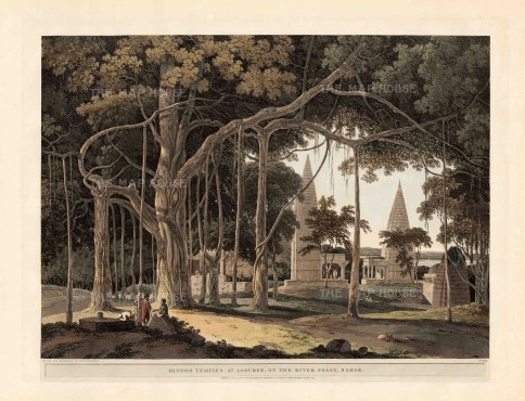 "Daniell, 'Hindoo Temples at Agouree', 1796. An original aquatint. 20"" x 26"". £POA."