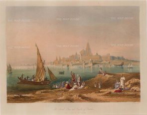 "Robert Melville Grindlay, 'The Sacred Town and Temples of Dwarka', 1830. An original colour aquatint. 9"" x 12"". £POA."