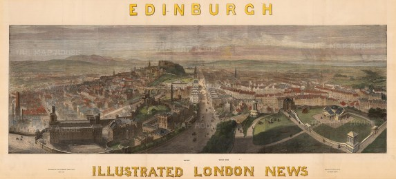 """The Illustrated London News, 'Panorama of the City from Carlton Hill', c.1850. A hand-coloured original wood-engraving. 16"""" x 38"""". £POA."""