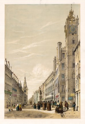 """Samuel Swarbreck, 'Irongate', Street Scene with the Old Tower, 1837. A hand-coloured original lithograph. 12"""" x 16"""". £POA."""