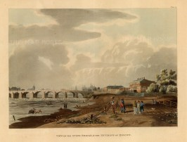"""Ackermann, 'View of the Stone Bridge and the Environs of Moscow', 1813. An original colour aquatint. 10"""" x 12"""". £POA."""