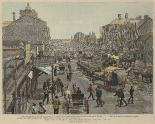 The Graphic Magazine: Johannesberg. 1891. A hand-coloured original antique wood-engraving. 12 x 10 inches. [AFRp1219]