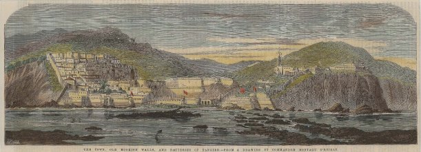 The Illustrated London News: Tangier, Morroco. 1859. A hand coloured original antique wood-engraving. 14 x 5 inches. [AFRp1267]
