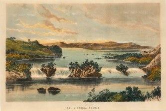 Anon: Lake Victoria. 1870. A hand-coloured original lithograph. 9 x 6 inches. [AFRp1283]