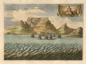 Van der Aa: Cape Town, South Africa. Circa 1705. A hand-coloured original antique copper-engraving. 15 x 13 inches. [AFRp1357]