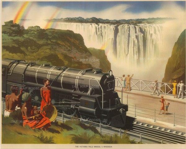 Packham: Victoria Falls Bridge, Tanzania. 1940. An original vintage chromo-lithograph. 19 x 15 inches. [AFRp570]