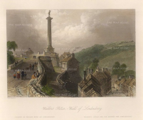 Bartlett: Londonderry. 1840. A hand-coloured original steel engraving. 8 x 7 inches. [IREp642]