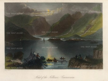 Bartlett: Connemara, County Galway. A hand-coloured original antique steel-engraving. 8 x 6 inches. [IREp677]