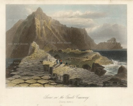 Bartlett: Giant's Causeway. 1841. A hand-coloured original antique steel-engraving. 8 x 6 inches. [IREp681]
