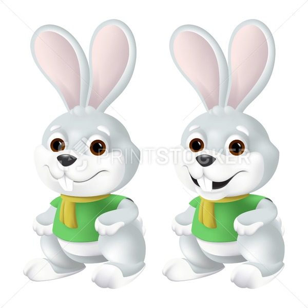 Cute Easter Bunny In Yellow Scarf And Green Shirt With Big Eyes And Ears Isolated On White Background Funny Vector Mascot Character Illustration Of Smiling Grey Rabbit In 3d Cartoon Style