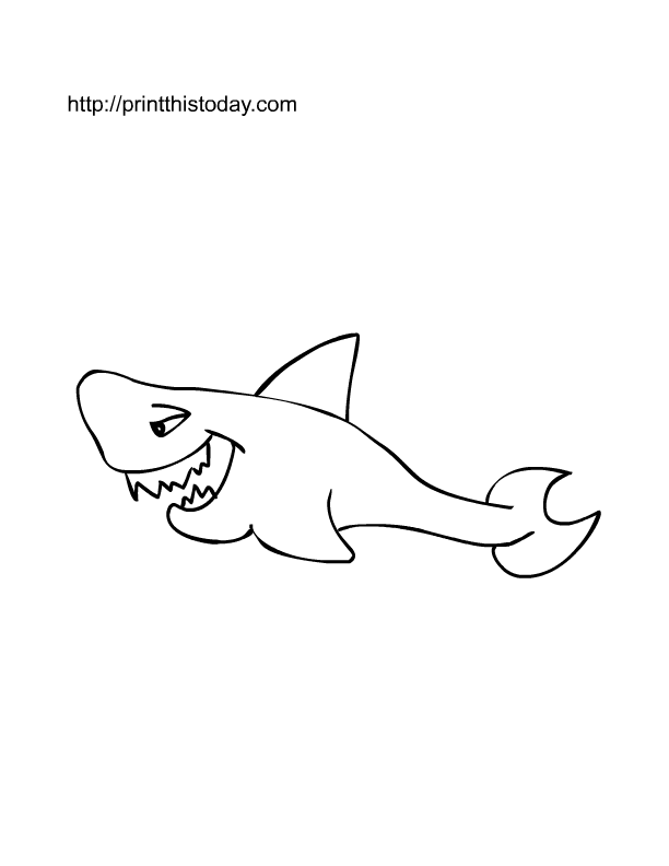 free printable page for kids with image of shark