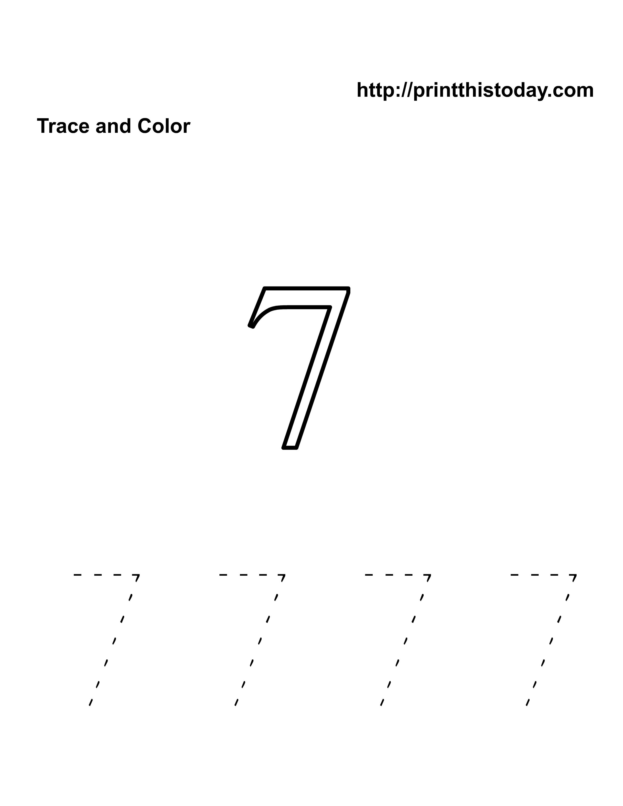 Free Kindergarten Math Worksheets Number Seven 7