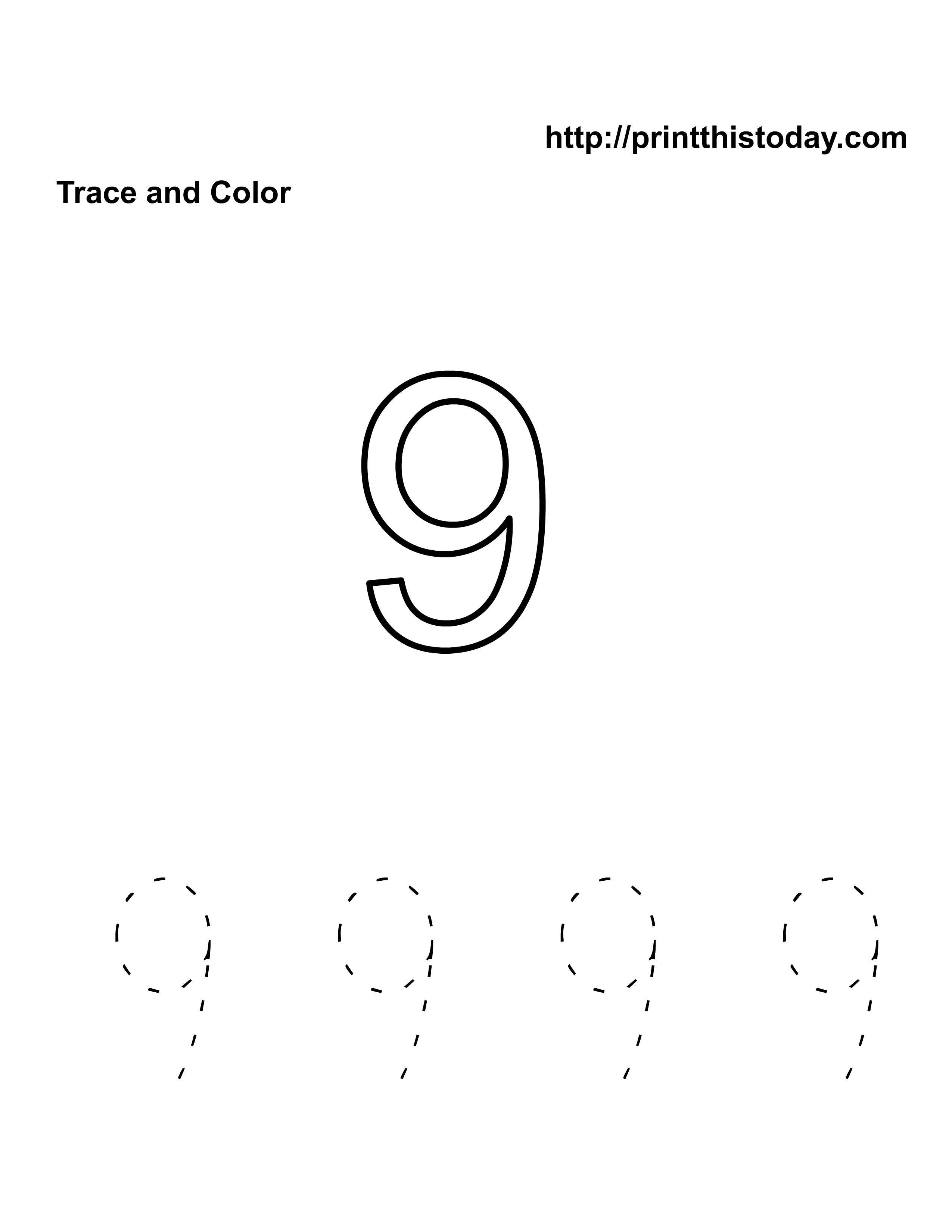 Free Kindergarten Math Worksheets Number Nine 9