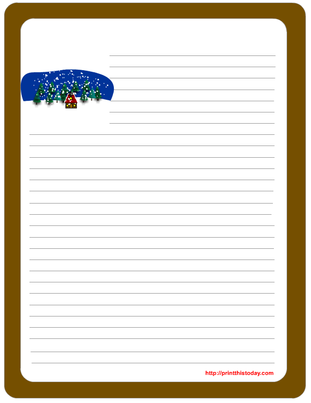 winter snow and trees give this free printable paper a very cute look