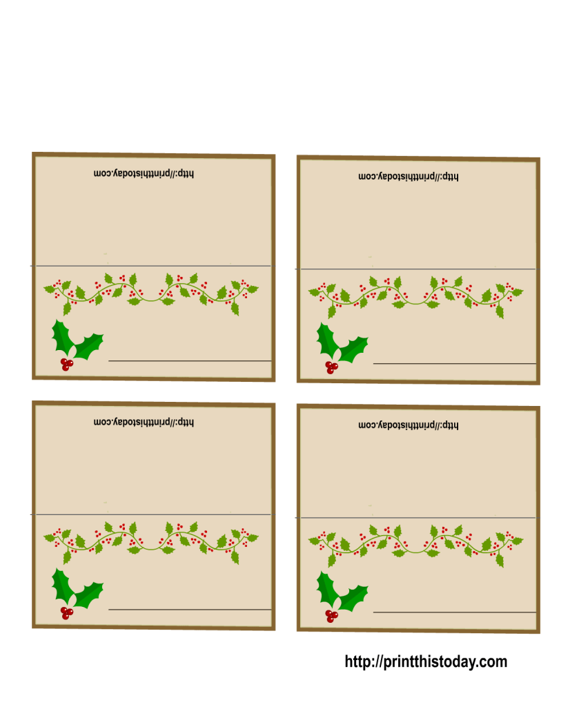 Free Printable Christmas Cards Name Placecards Template