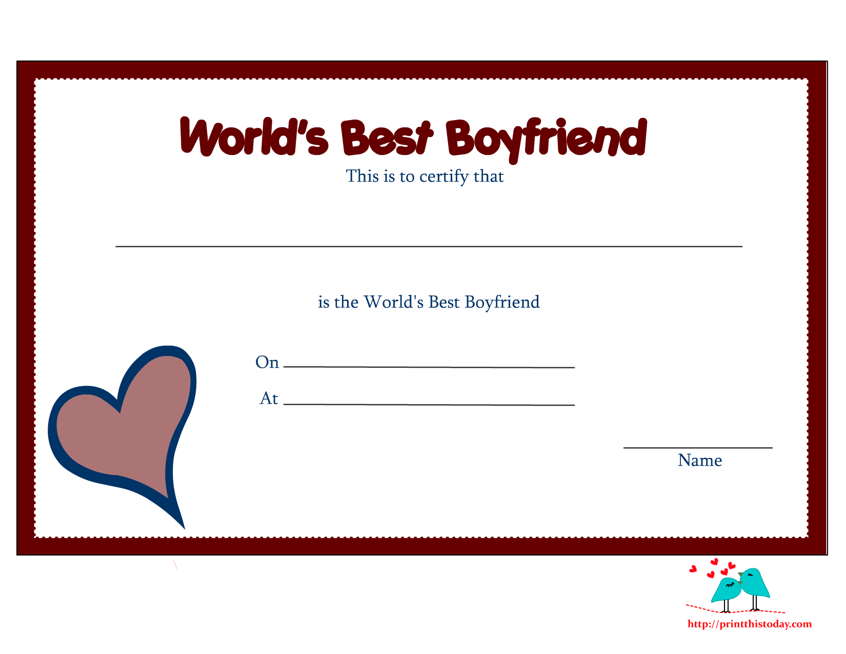 Free Printable Worlds Best Boyfriend Certificates