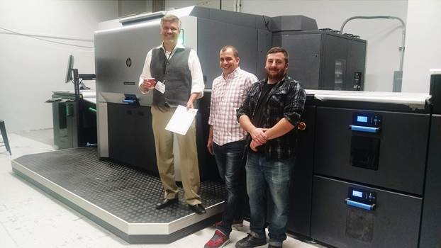 (Left to right): Mike Duggal, CEO, Duggal Visual Solutions, Inc.; Demian Cacciolo, Indigo production and finishing manager, Duggal Visual Solutions; and Brian Renaldo, assistant manager, Indigo production and finishing, Duggal Visual Solutions, Inc.