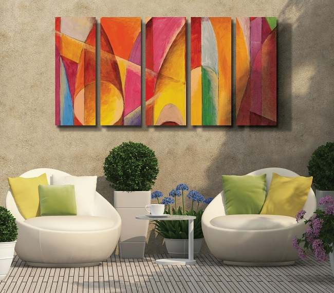 Dye-sublimated art panels on outdoor patio wall